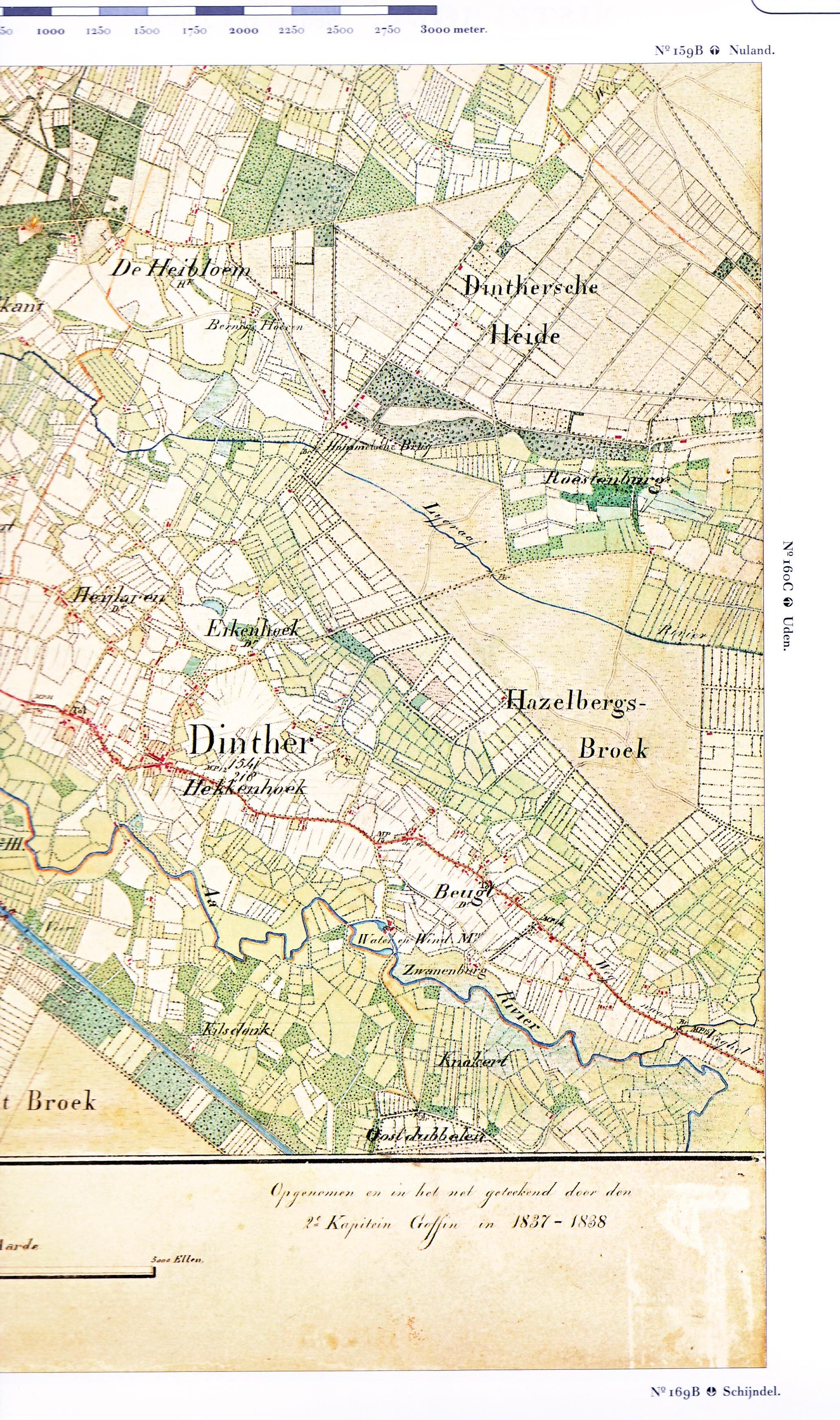Kaart Dinther 1837 1838